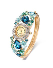 Fashion Gold Color+blue Flower Decorated Hollow Out Design Color Matching Watch