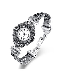 Fashion Silver Color Diamond Decorated Flower Shape Dial Design Multi-layer Chain Watch