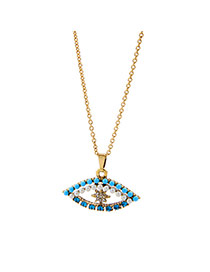 Fashion Blue Hollow Out Eye Pendant Decorated Color Matching Necklace