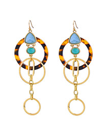 Fashion Gold Color Oval Shape Diamond Decorated Multi-layer Round Shape Design Earrings
