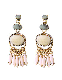 Exaggerated Gold Color Oval Shape Diamond Decorated Tassel Design Simple Earrings