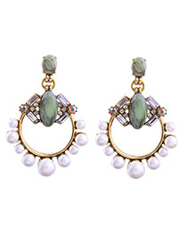 Fashion Multi-color Pearls&diamond Decorated Hollow Out Design Simple Earrings