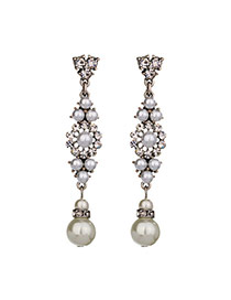 Fashion Silver Color Diamond&pearls Decorated Flower Shape Design Simple Earrings