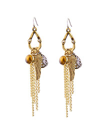 Fashion Gold Color Tassel&wing Pendant Decorated Color Matching Earrings