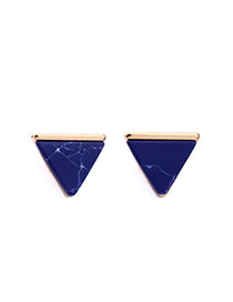 Fashion Blue Triangle Shape Diamond Decorated Color Matching Earrings