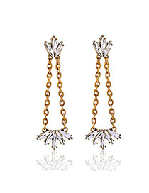 Fashion Gold Color Oval Shape Diamond Decorated Hollow Out Design Simple Earings