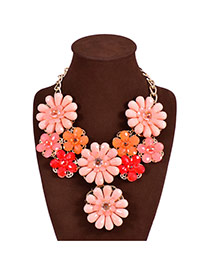 Fashion Red Flower Decorated Color Matching Design Simple Necklace