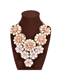 Trendy White Flower Decorated Color Matching Design Simple Necklace