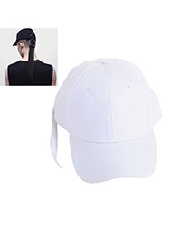 Fashion White Big Ring Decorated Pure Color Design Simple Baseball Hat