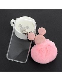 Sweet Pink Mouse Head&ball Shape Decorated Transparent Iphone7 Case