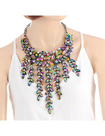 Fashion Green +plum Red Leaf Shape Decorated Tassel Design Color Matching Necklace