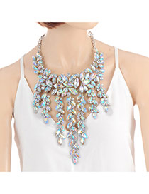 Fashion Multicolor Leaf Shape Decorated Tassel Design Color Matching Necklace
