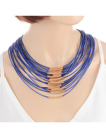Fashion Sapphire Blue Color Matching Decorated Multi-layer Design Magnet Necklace