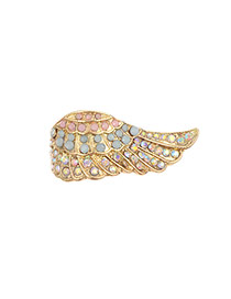 Fashion Gold Color Round Shape Diamond Decorated Feather Shape Design Ring