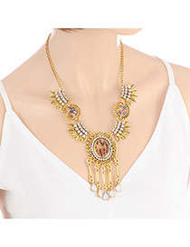 Fashion Gold Color Water Drop Diamond Pendant Decorated Leaf Shape Design Necklace
