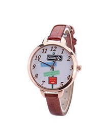 Fashion Red Landmark Pattern Decorated Round Dail Thin Strap Woman Watch