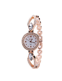 Fashion Rose Gold Oval Shape Diamond Decorated Hollow Out Design Simple Watch