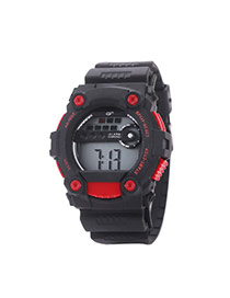 Fashion Red Letter Pattern Decorated Round Dail Pure Color Strap Waterproof Watch