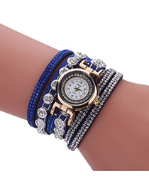 Fashion Blue Diamond Decorated Round Shape Dial Multi-layer Watch