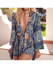 Fashion Blue Painting Flower Pattern Decorated Long Sleeve Simple Jumpsuit