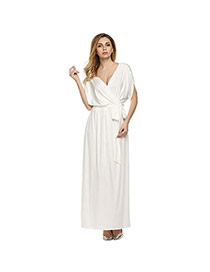 Sexy White Pure Color Decorated Short Sleeve V Neckline Long Dress