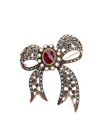 Fashion Red Oval Shape Diamond Decorated Bowknow Shape Design Brooch