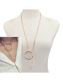 Fashion Gold Color Double Round Shape Decorated Pure Color Collarbone Necklace