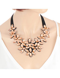 Fashion Champagne Oval Shape Diamond Decorated Flower Shape Design Choker