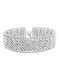 Elegant Silver Color Diamond Weaving Decorated Hollow Out Chocker