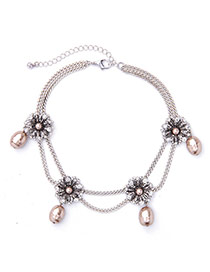 Elegant Silver Color Flower&pearl Pendant Decorated Double Layer Necklace