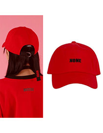 Fashion Red Letter&short Strap Decorated Pure Color Baseball Cap