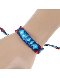 Bohemia Blue Color-matching Decorated Simple Hand-woven Design Bracelet