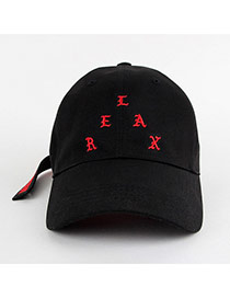 Personality Vlack Letter Shape Embroidery Decorated Simple Hat