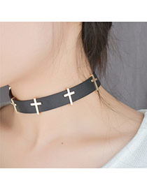 Vintage Black Metal Coross Shape Decorated Simple Choker