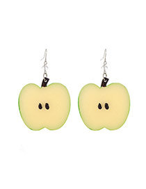 Cute Green Apple Shape Pendant Decorated Simple Earring