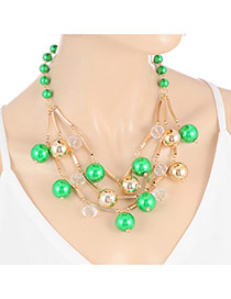 Sweet Green Multilayer Ball Shape Decorated Short Chain Necklace