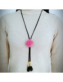 Fashion Plum Red Fuzzy Ball Decorated Simple Long Chain Necklace