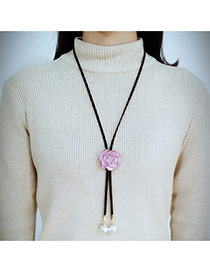 Fashion Pink Flower Decorated Simple Long Chain Necklace