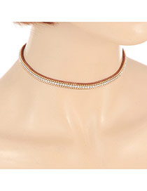 Elegant Coffee Double Layer Diamond Decorated Simple Chocker