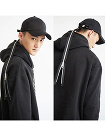 Fashion Black Long Zipper Tape Decorated Pure Color Baseball Cap