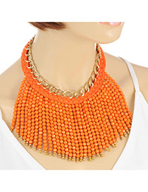 Bohemia Orange Beads Weaving Tassel Pendant Decorated Double Layer Necklace
