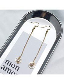 Elegant Gold Color Pearls&round Shape Decorated Tassel Design Simple Earrings