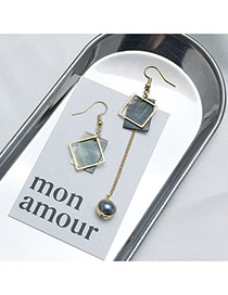Elegant Gray Beads&square Shape Decorated Hollow Out Design Earrings