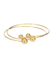 Elegant Gold Color Ball Shape Decorated Opening Double Layer Bracelet