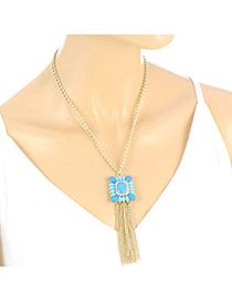 Retro Gold Color Square Gemstone Decorated Tassel Pendant Simple Necklace