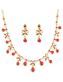 Sweet Red Bowknoet&ball Pendant Decorated Simple Jewelry Sets