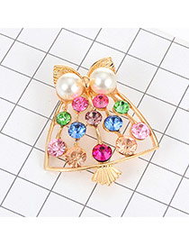 Eleagnt Multi-color Pearl&diamond Decorated Hollow Out Brooch