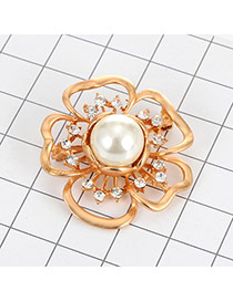Luxury Gold Color Round Pearl Decorated Hollow Out Flower Brooch