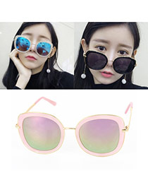 Sweet Pink Big Frame Shape Decorated Color Matching Sunglass