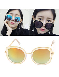 Sweet Yellow Big Frame Shape Decorated Color Matching Sunglass